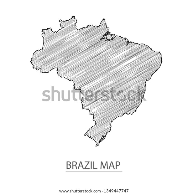 Scribble Sketch Brazil Map Country Name Stock Vector ...