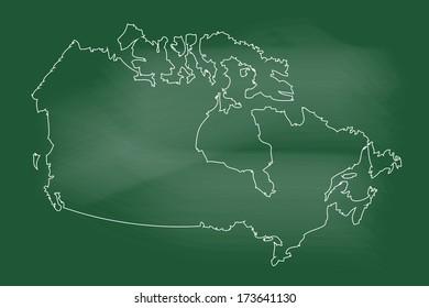 scribble sketch of canada map on blackboard