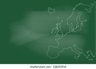 scribble sketch of Europe map on blackboard