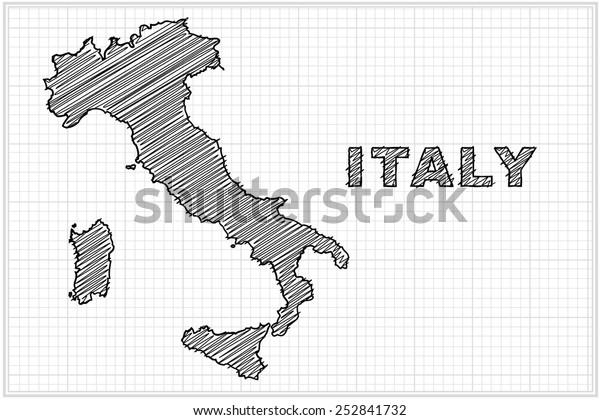 Scribble Luonnos Italian Kartta Ruudukko Vektori Arkistovektori