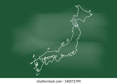 scribble sketch of Japan on blackboard