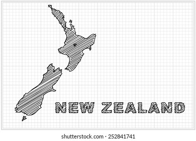 scribble sketch of New Zealand map on grid,Vector illustration.