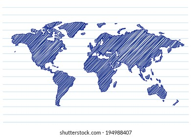 scribble sketch of world map on a notepad sheet