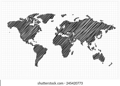 scribble sketch of World map on grid,Vector illustration.