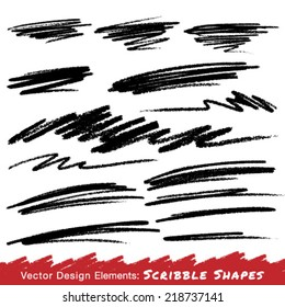 Scribble Smears Hand Drawn in Pencil , vector logo design element