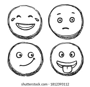 Scribble smile. Hand drawn positive emoji. Vector doodle emoticon sketch illustration. Scribble smile with smirk expression, laughter, confusion, happiness emotion on face isolated icon set on white