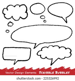 Scribble speech and thought bubbles hand drawn in pencil. Vector illustration.