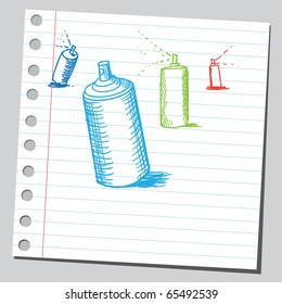 Scribble style illustration of a spray cans