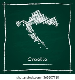 Scribble vector map of Croatia hand drawn with chalk on a green blackboard. Chalkboard map drawing in childish style. White chalk texture on green background.