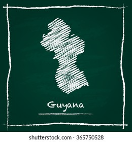 Scribble vector map of Guyana hand drawn with chalk on a green blackboard. Chalkboard map drawing in childish style. White chalk texture on green background.
