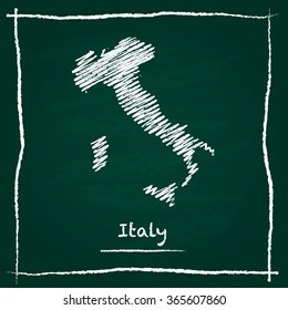 Scribble vector map of Italy hand drawn with chalk on a green blackboard. Chalkboard map drawing in childish style. White chalk texture on green background.