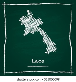Scribble vector map of Laos hand drawn with chalk on a green blackboard. Chalkboard map drawing in childish style. White chalk texture on green background.
