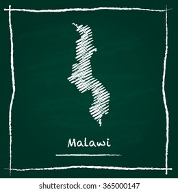 Scribble vector map of Malawi hand drawn with chalk on a green blackboard. Chalkboard map drawing in childish style. White chalk texture on green background.