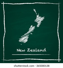 Scribble vector map of New Zealand hand drawn with chalk on a green blackboard. Chalkboard map drawing in childish style. White chalk texture on green background.