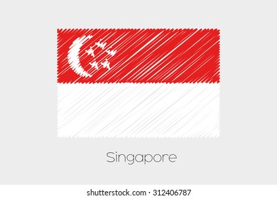 A Scribbled Flag Illustration of the country of Singapore
