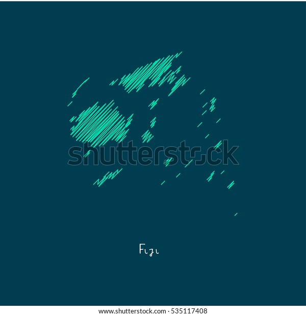 A Scribbled Map of the Fiji. Sketch Country map for infographics, brochures and presentations. vector green map illustration