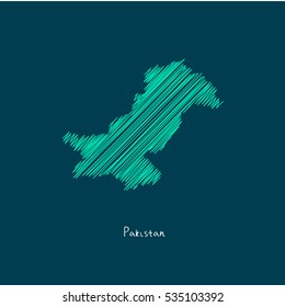 A Scribbled Map of the Pakistan. Sketch Country map for infographics, brochures and presentations. vector green map illustration