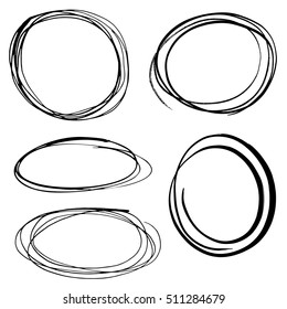 Scribbled round frames collection - vector