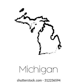 A Scribbled shape of the State of Michigan