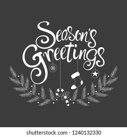 Script font type Season's Greetings for greeting card, flyer, brochure, poster logo with text lettering.