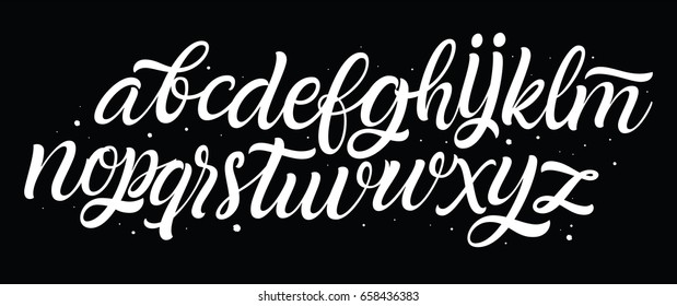 Script font. Vector brush letters.