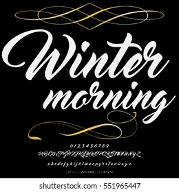 script handcrafted vector calligraphy font typeface,vector,labels,illustration,letters,grunge,graphics,banners,vintage in design with decoration named-Winter morning