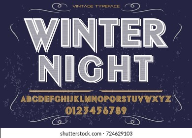 script handcrafted vector calligraphy font typeface,vector,labels,illustration,letters,grunge,graphics,banners,vintage in design with decoration name winter night