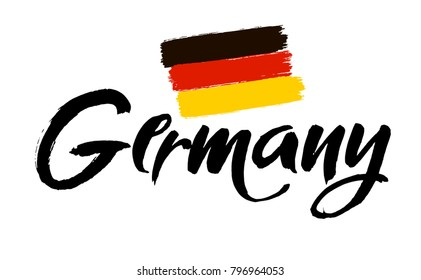 Script text word art lettering design vector of country name for Germany. Ink illustration. Modern brush calligraphy. Isolated on white background.