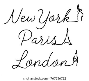 Script Typography with Big Ben, Eifel Tower, statue of liberty. Apparel Print. fashion illustration. t shirt print