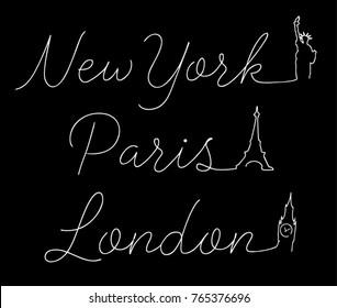 Script Typography.Eifel Tower. Statue of Liberty. Big Ben. Caligraphy Apparel Print. fashion illustration. Vector Print. t shirt print