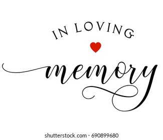 Script wedding text word art vector design for in loving memory