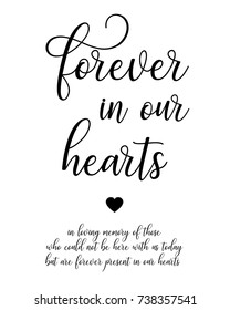 Script word art text wedding sign vector for   forever in our hearts