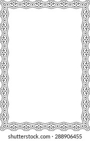 Scroll art renesance frame is isolated on white