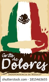 Scroll with bell in brush stroke style like Mexico flag, ready to celebrate Mexican Independence Day, also called 'Grito de Dolores' (texts written in Spanish).