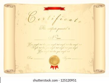 Scroll certificate of completion template. Parchment paper. This design usable for diploma, invitation, official or different awards. Old map. Vector illustration EPS 8