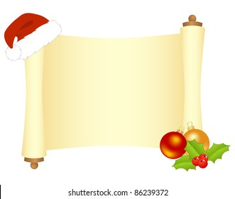 Scroll with Christmas decorations. Vector illustration, isolated on a white