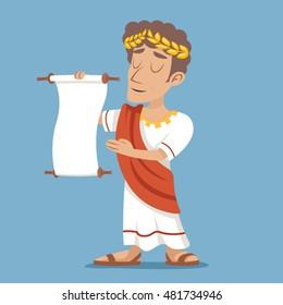 Scroll Declaration Roman Greek Retro Vintage Businessman Cartoon Character Icon Stylish Background Design Vector Illustration