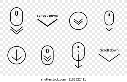 Scroll down icon. Vector scrolling mouse sybmol for web design isolated on transparent background. Trend line design