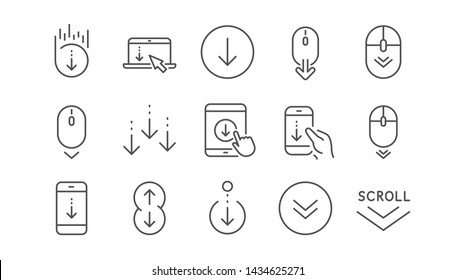 Scroll down line icons. Scrolling mouse, landing page swipe signs. Mobile device technology icons. Website scroll navigation. Phone scrolling. Linear set. Vector