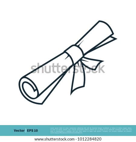 scroll paper graduation certification icon vector stock vector