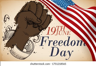 Scroll with U.S.A. flag and shackled dark skinned fist breaking free in hand drawn style, symbolizing the freedom of African-American slaves in the commemoration of Freedom Day this 19th June.