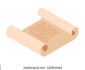 Scroll of vintage paper on a white background in isometric style. Retro papyrus illustration vector