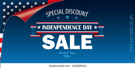 Scrolled corner with US Flag for Independence  Day Sale. Eps 10 vector file.