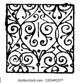 Scrollwork Damaskeening is decorative patterning, vintage line drawing or engraving illustration.