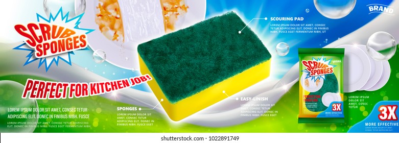 Scrub sponges ads, dishwashing tool with package design and foam elements in 3d illustration