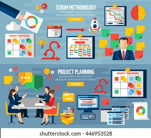 Scrum agile development methodology teamwork 2 colorful horizontal banners with sprint project planning abstract isolated vector illustratin