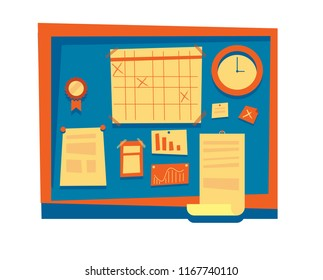 Scrum and agile methodology board plan with calendar schedule and sticky notes flowchart. School blackboard with clock, award and documents.