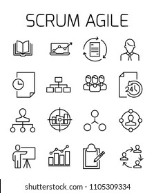 Scrum agile related vector icon set. Well-crafted sign in thin line style with editable stroke. Vector symbols isolated on a white background. Simple pictograms.