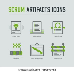 Scrum artifacts icons on light grey background