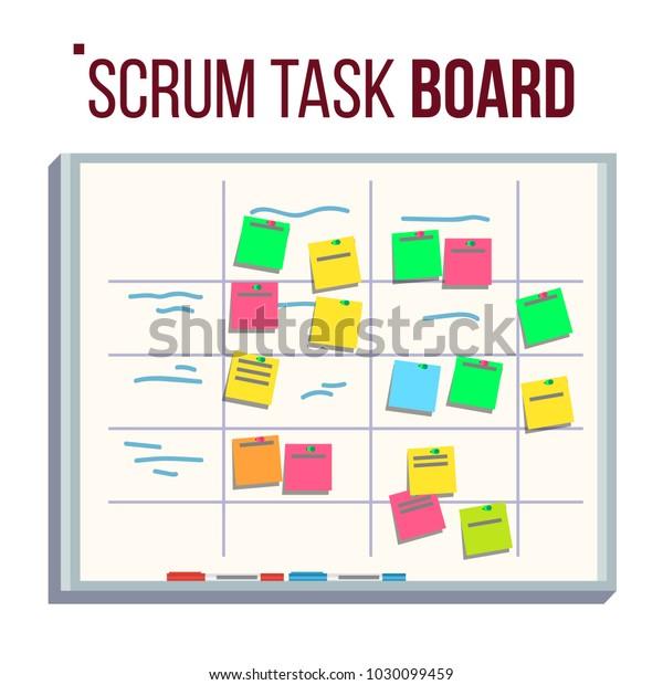 scrum board vector board post notes stock vector royalty. Black Bedroom Furniture Sets. Home Design Ideas